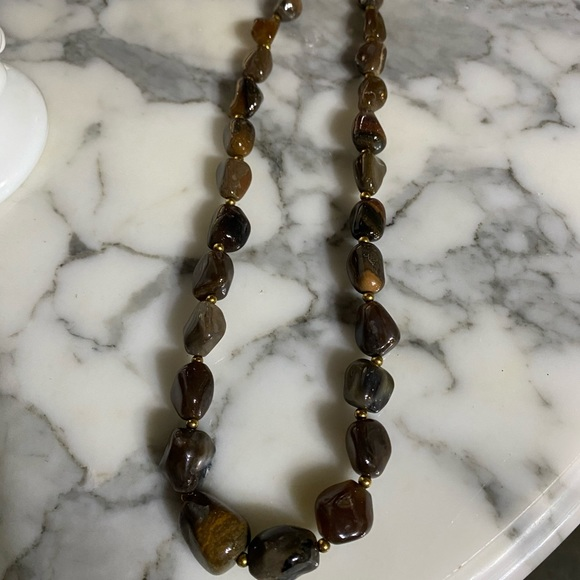 Brown natural stone necklace